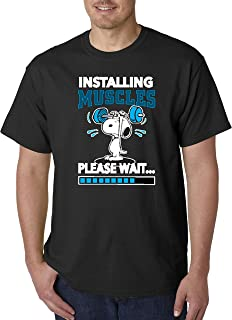 snoopy installing muscles shirt