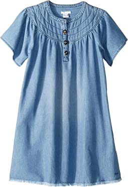 Light Denim Dress, Stitched Yoke with Horn Buttons (Big Kids)