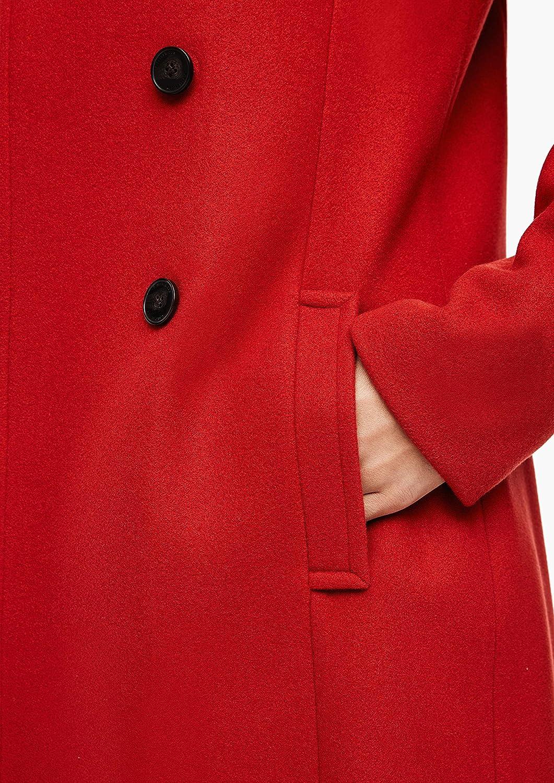 s.Oliver Damen Wollmix-Mantel mit großer Kapuze Dark Red
