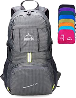 Venture Pal Ultralight Lightweight Packable Foldable Travel Camping Hiking Outdoor Sports Backpack Daypack-Grey