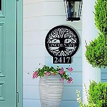 Aangepaste metalen adresbord, gepersonaliseerde levensboom huisnummer teken, metalen adresbord, adres plaque outdoor metal...