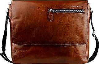 """Bugatti Domus Leder Messenger Bag Umhängetasche für Damen und Herren mit 13"""" Laptopfach, Kuriertasche Schultertasche Herrentasche"""