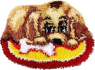 Kit de Alfombra de Gancho Patrón Animal Perro Bordado Punto de Cruz Cojín Decoración para El Hogar 19,6 x 14,17 Pulgadas