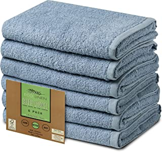 """Ecolinen Organic Bath Towels, Highly Absorbent Combed Cotton Soft, Bathroom Towel Set, Pool, Spa, and Gym Lightweight Quick Drying Towels, 22"""" x 44"""", Set of 6, Blue"""