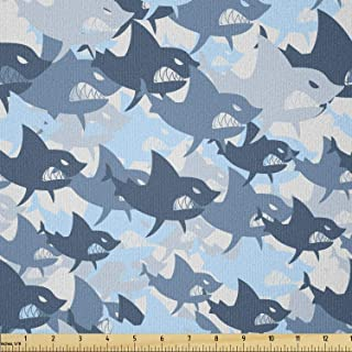 Lunarable Sea Animals Fabric by The Yard, Camouflage Pattern with Aggressive Shark Fishes Scary Marine Predators, Stretch ...