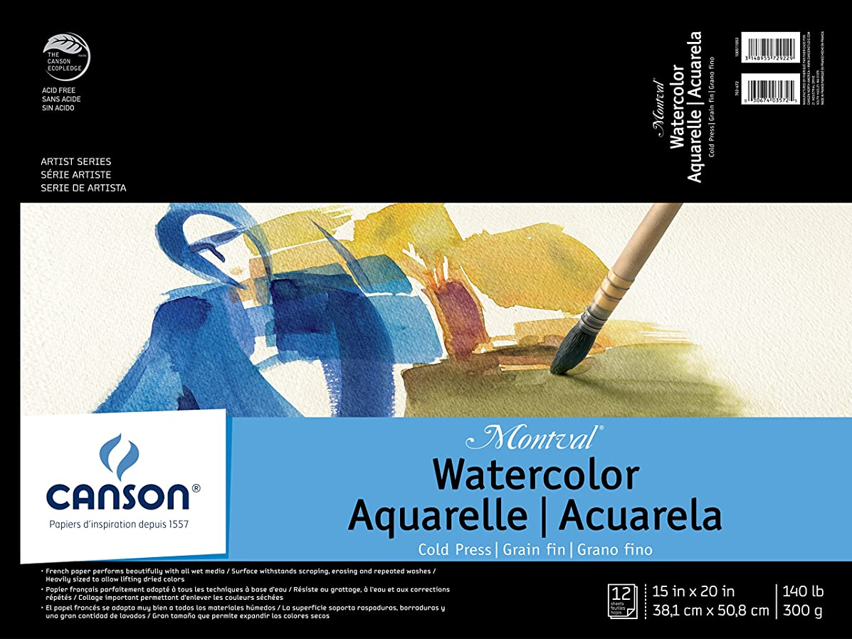 Canson Montval Watercolor Pad, Cold Press Acid Free French Paper, Fold Over, 140 Pound, 15 x 20 Inch, 12 Sheets