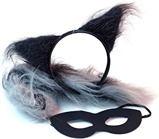 Raccoon Headband Ears and Tail Costume Accessory Set - Fits Adults and Kids Grey