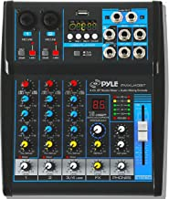 Pyle Professional Audio Mixer Sound Board Console System Interface 4 Channel Digital USB Bluetooth MP3 Computer Input 48V ...