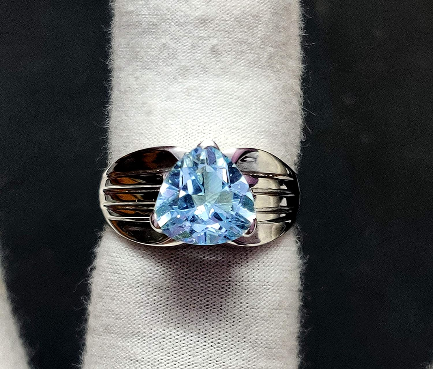 925 Silver Reservation Blue Topaz Statement Ring Band Ct 10 5 Attention brand mm