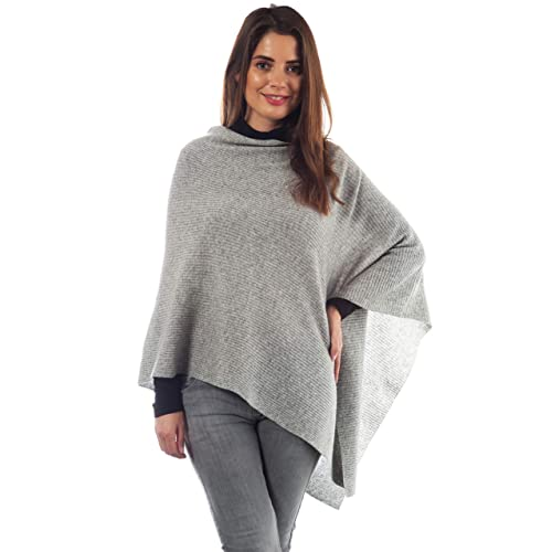 b1b81471f Adorawool Fine Cashmere & Merino Poncho for Women - Ribbed Design - Soft  Lightweight Warm Winter