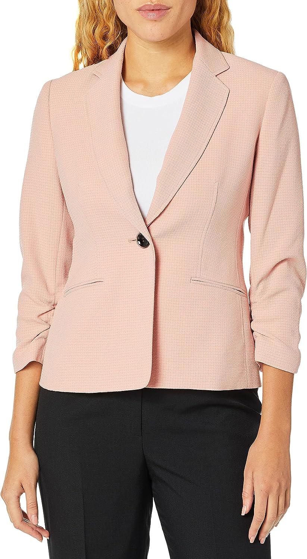 Kasper Women's Textured Stretch Notch Collar 1 Button Jacket