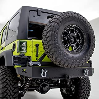 """Restyling Factory - Rock Crawler Rear Bumper with Tire Carrier and 2"""" Hitch Receiver-Textured Black for 07-17 Jeep Wrangler JK"""