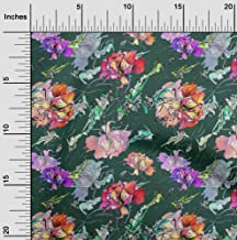 oneOone Cotton Silk Teal Green Fabric Texture,Leaves & Floral Artistic Quilting Supplies Print Sewing Fabric by The Meter ...