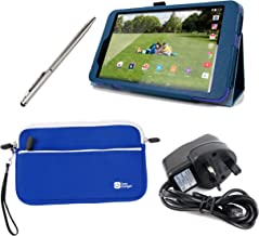 DURAGADGET Tesco Hudl 2 Case Bundle - Folding Folio Kick-Stand Cover in Blue with Stylus Holder for NEW Tesco Hudl 2 + Bon...