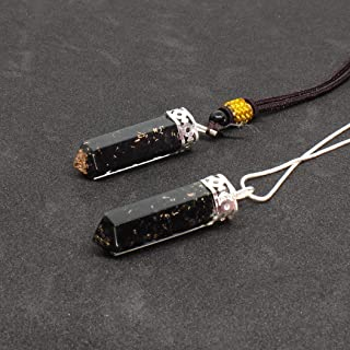 Orgone Pendant-Bullet Black Tourmaline Orgone pendant necklace with Healing Crystals for Chakra Balancing -EMF Protection -Negative Minds-Emotions Energy(Orgone Neclace for couple) Set of 2