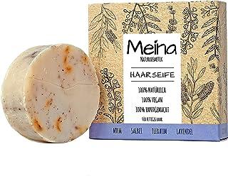 Meina - Haarseife Naturkosmetik - Bio Shampoo Bar mit Niem, Salbei, Teebaum und Lavendel 1 x 80 g palmölfrei, vegan, festes Shampoo für fettiges Haar, Shampooseife für Männer und Frauen