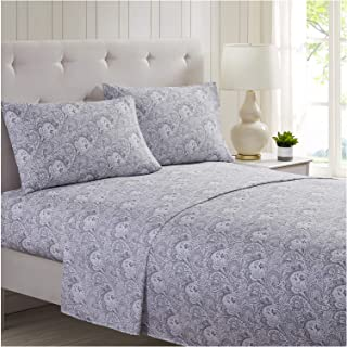 Mellanni Bed Sheet Set Brushed Microfiber 1800 Bedding - Wrinkle, Fade, Stain Resistant - 4 Piece (King, Paisley Gray)