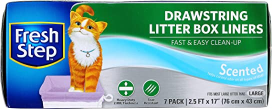 """Fresh Step Drawstring Cat Litter Box Liners, Fresh Scent, Size Large, 30"""" x 17"""" - 7 Count 