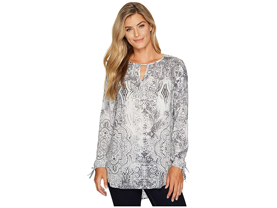 Tribal Long Sleeve Printed Tunic w/ Laser Cut Combo (Mushroom) Women