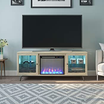 """Ameriwood Home Sydney View Fireplace 70"""", Blonde Oak TV Stand"""