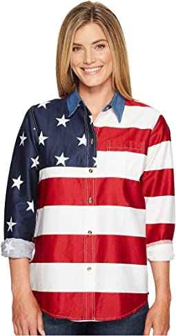 L/S Stars and Stripes Pieced Flag
