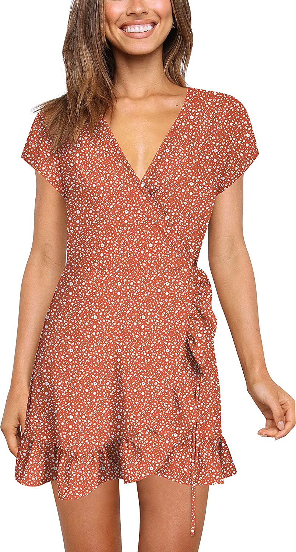 Nova In Sky Casual Womens Summer Dresses T Shirt Short Bodycon Mini Dress with Crew Neck Flare Sleeve and Ruffle Hem