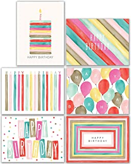 Watercolor Bulk Birthday Cards Assortment – 48pc Bulk Happy Birthday Card with Envelopes Box Set – Assorted Blank Birthday Cards for Women, Men, and Kids in a Boxed Card Pack