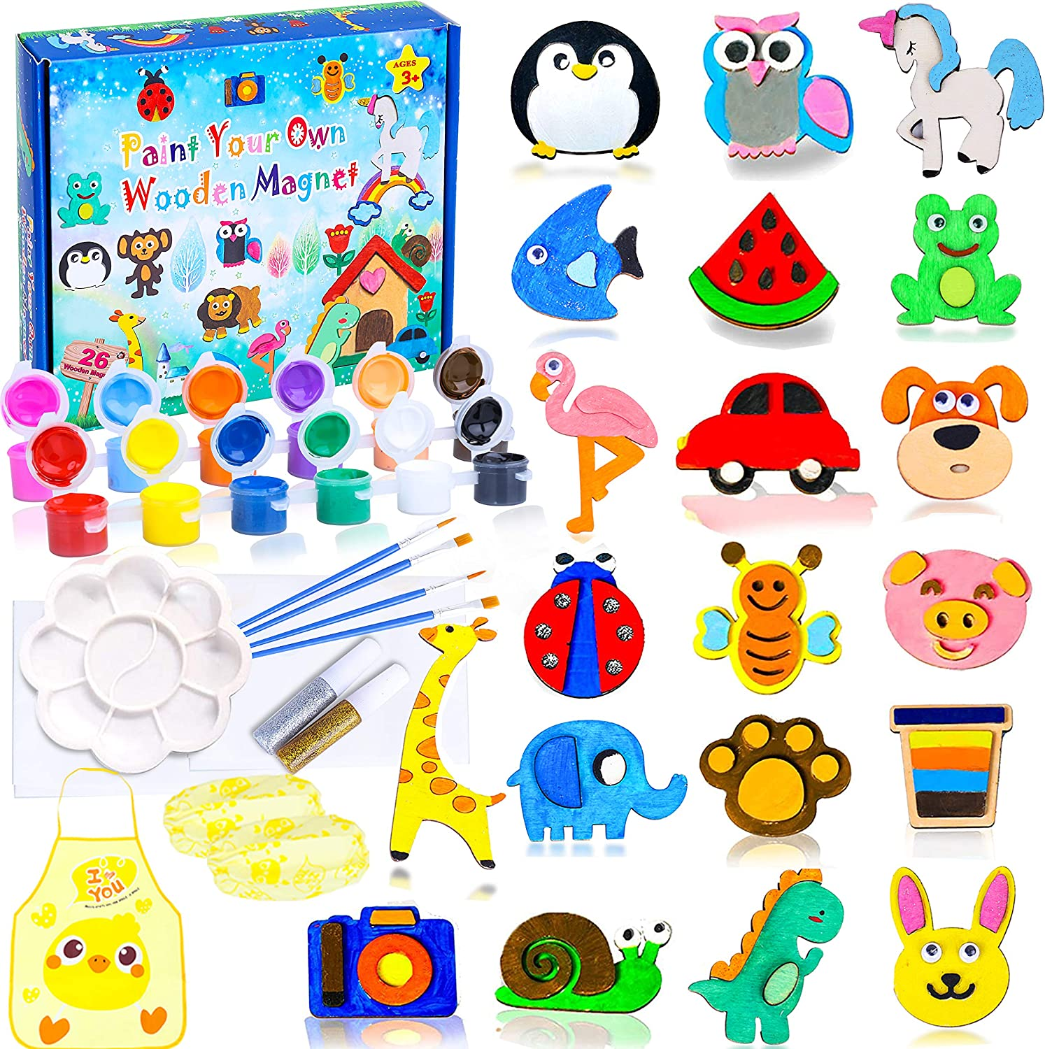XAZIE 26 Wood Painting Craft Kit and Art Set for Kids, Art and Craft Supplies Party Favors for Boys Girls Age 4 5 6 7 8, Easter Crafts & Basket Stuffers, Paint Your Own Wooden Magnet