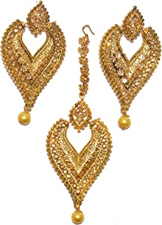 0d58f1ca620270 Patiala Traditional Jewellery Oxidized Antique Plated Champagne Stone Maang  Tikka with Earrings for Women & Girls