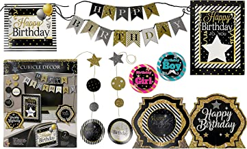 Office Birthday Party Cubicle Desk Decorations Kit (Silver Black Set)