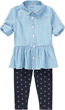 Ralph Lauren Baby - Chambray Top & Leggings Set (Infant)