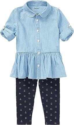 Ralph Lauren Baby - Chambray Top & Leggings Set (Infant)
