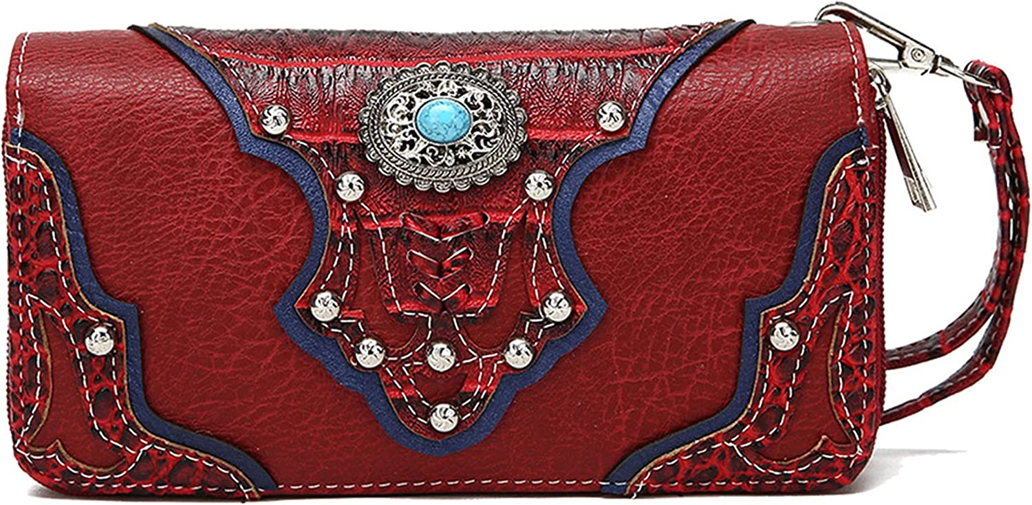 Western Origin Cowgirl Popular standard Trendy Style Max 65% OFF Stone Purse Turquoise Wallet