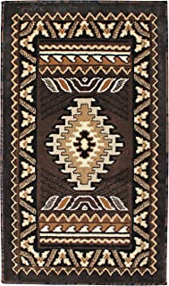 Rugs 4 Less Collection Southwest Native American Indian Door Mat Area Rug Design R4L 143 Chocolate / Brown (2'X3'4