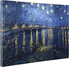 Niwo Art - Starry Night Over The Rhone, by Vincent Van Gogh - Oil Painting Reproductions - Giclee Canvas Prints Wall Art for Home Decor, Stretched and Framed Ready to Hang (16 x 20 x 0.75 Inch)