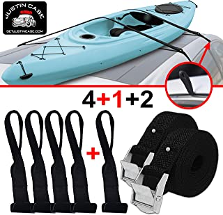 """JUSTINCASE Rooftop Cargo Hooks and Tie Down Straps – Ultimate Car Roof Storage System – Sturdy and Safe – Five Stainless Steel Hooks – Two 197-Inch (16'-5"""") Long, 1-Inch Wide Car Rooftop Straps"""