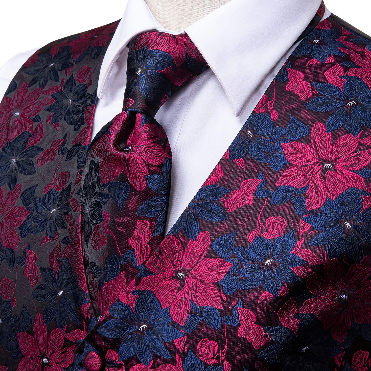 Dubulle Mens Paisley Tie and Vest Set with Pocket Square Cufflinks Waistcoat Suit for Tuxedo
