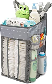 Hanging Nursery Organizer and Baby Diaper Caddy | Hanging Diaper Organization Storage for Baby Essentials | Hang on Crib, ...