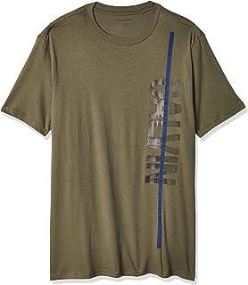 Men's Short Sleeve Casual Monogram Waffle Crew Neck Shirt