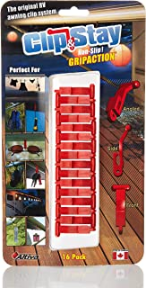 Clip&Stay RV Awning Clip System with GRIPACTION Technology (16 Pack). Keep Your Gear Handy and Stay Organized. Hang Lights and so Much More. Patented Design Prevents Clips from bunching-up.