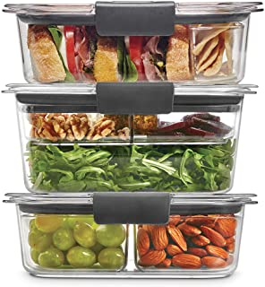 Rubbermaid Leak-Proof Brilliance Food Storage 12-Piece Plastic Containers with Lids | Bento Box Style Sandwich and Salad L...