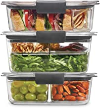 Rubbermaid 2108371 Leak-Proof Brilliance Food Storage 12-Piece Plastic Containers with Lids   Bento Box Style Sandwich and...