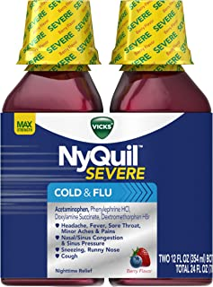 Vicks NyQuil SEVERE Cough, Cold and Flu, Berry Flavor, 12 fl oz (2 Pack) - Relieves Nighttime Sore Throat, Fever, Congestion