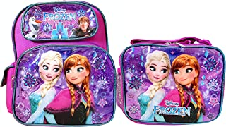 Disney Frozen 12 inch Small Backpack and Lunch Box Set - Purple
