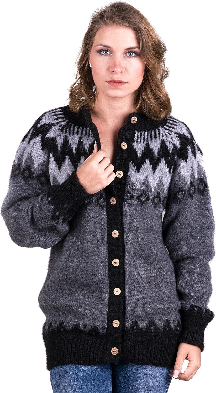 Gamboa  Baby Alpaca Cardigan for Women  Buttoned Cardigan  Grey Tones Andean Design