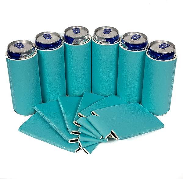 QualityPerfection Blank Slim Can Cooler Sleeve 啤酒 Blank Skinny 12 Oz 氯丁橡胶苦力完美适合 12oz RedBull Michelob Ultra 真正的 12 浅蓝色
