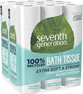 Seventh Generation White Toilet Paper 2-ply 100% Recycled Paper 24 Rolls x 2 pack - total 48 rolls