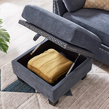 HONBAY Reversible Sectional Sofa Couch L-Shape Sofa Couch 4-seat Sofas Sectional for Apartment Bluish Grey