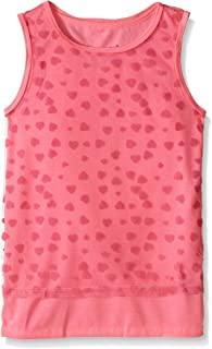 Dream Star Little Girls' Tulle Flocked Hearts Over Solid Jersey Tank 2 Pc Set
