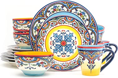 EuroCeramica Zanzibar Collection Vibrante juego de vajilla para horno de 16 piezas, diseño floral español, multicolor